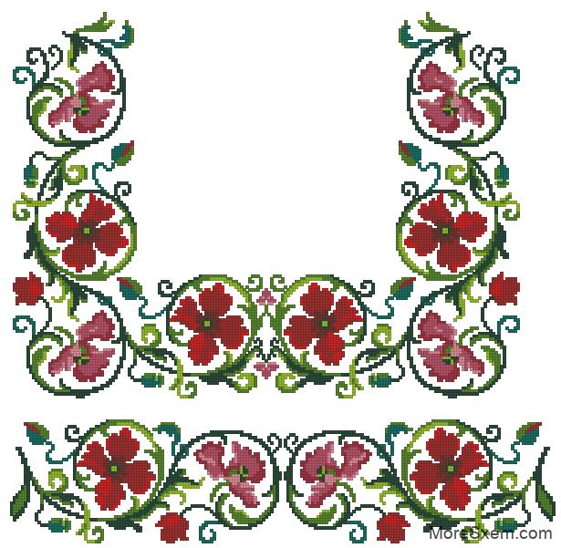Рисунки-схемы для вышивки подушек крестом