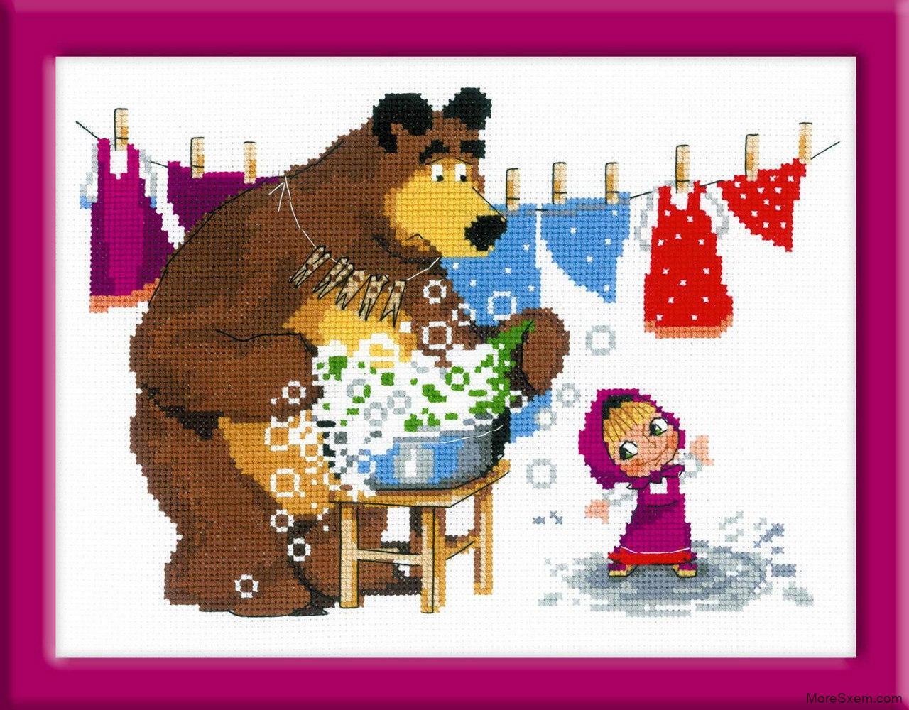 Маша и медведь схемы для вышивки крестом 54