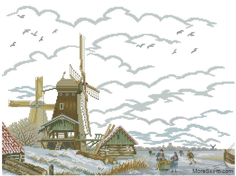 Схема вышивки крестом голландия 44